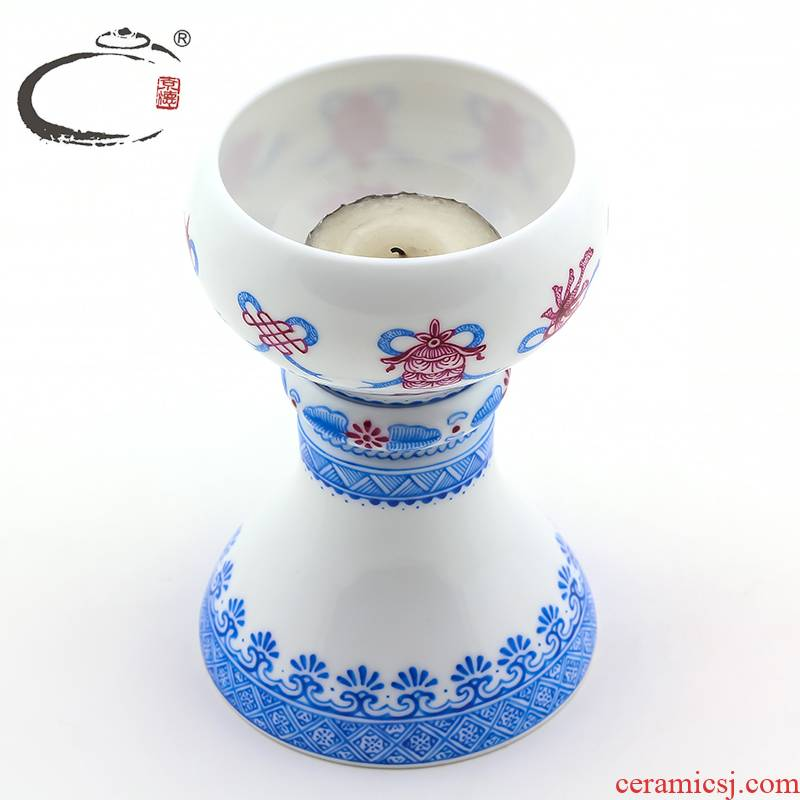 And auspicious jing DE jingdezhen up with alum red sweet based crafts home furnishing articles manually tea accessories compote