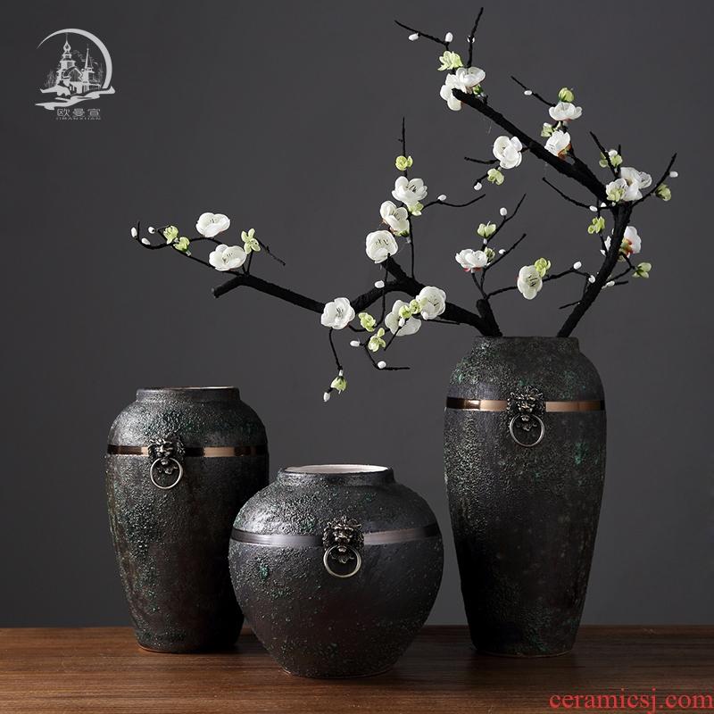 Jingdezhen restoring ancient ways do old ceramic vase furnishing articles Nordic creative living room TV ark home flower adornment