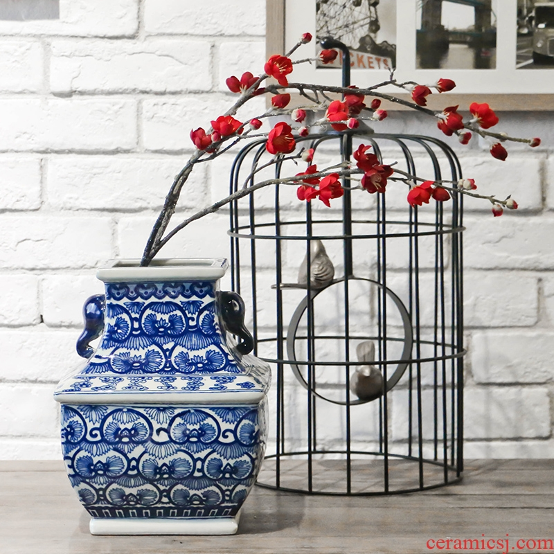 Jingdezhen square blue and white porcelain flower arranging flower implement new Chinese style classical Ming and the qing dynasties home decoration desktop furnishing articles