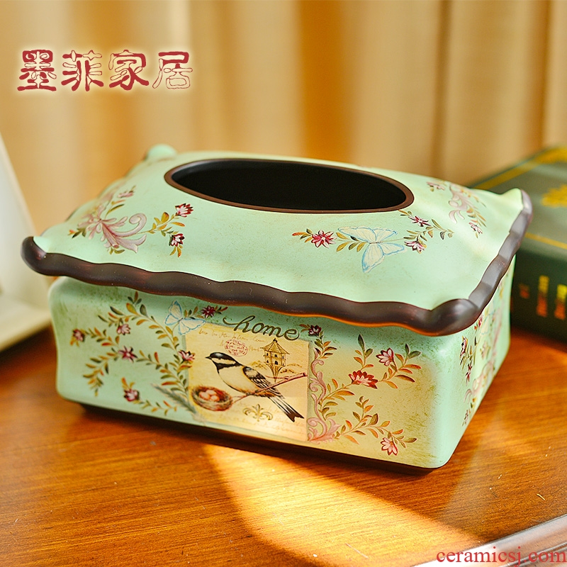 American ceramic paper towel box of Europe type style decorative furnishing articles paper suction box of home sitting room dining - room table in cartons