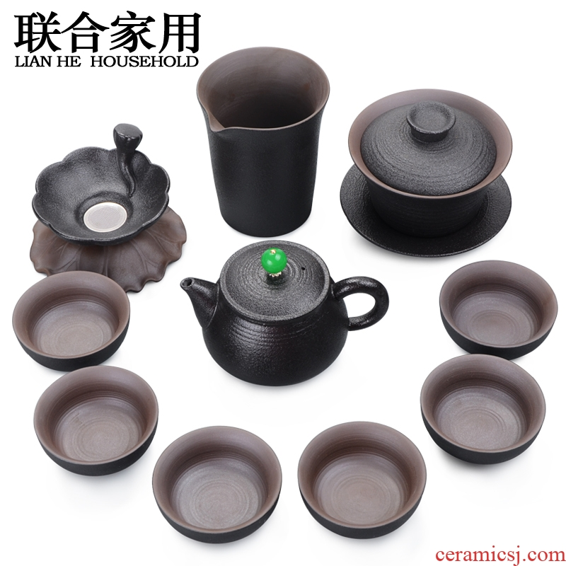 To be household kung fu tea set of a complete set of Japanese black pottery tea teapot teacup tureen gift set in a box