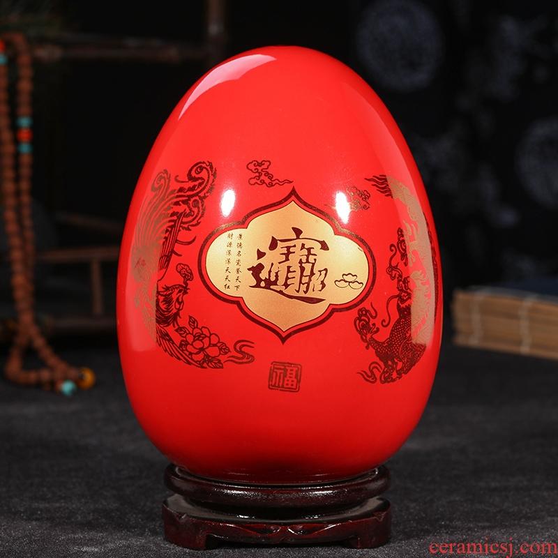 Jingdezhen ceramics China red longfeng f egg vase furnishing articles sitting room put vase modern home decoration
