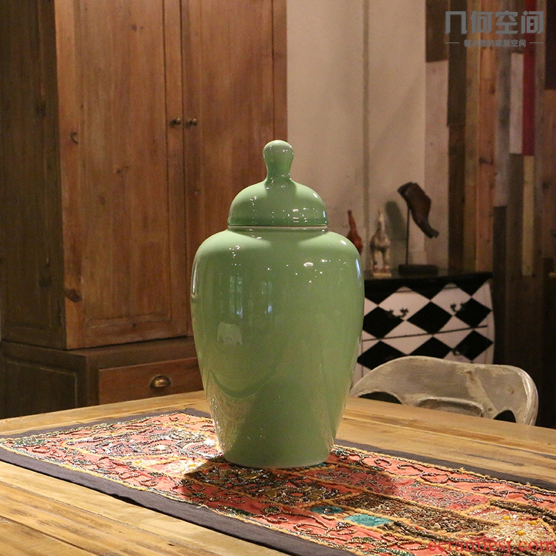 Jingdezhen example room soft outfit domestic act the role ofing use general glaze pea green ceramic jar of contracted classic adornment furnishing articles