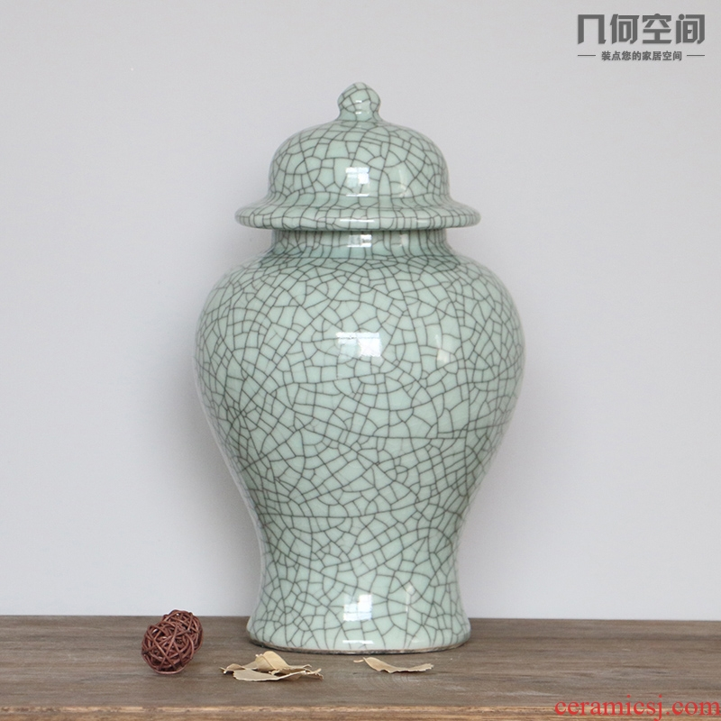 Jingdezhen ceramics vase archaize up crack glaze on the general pot office desktop furnishing articles in the living room
