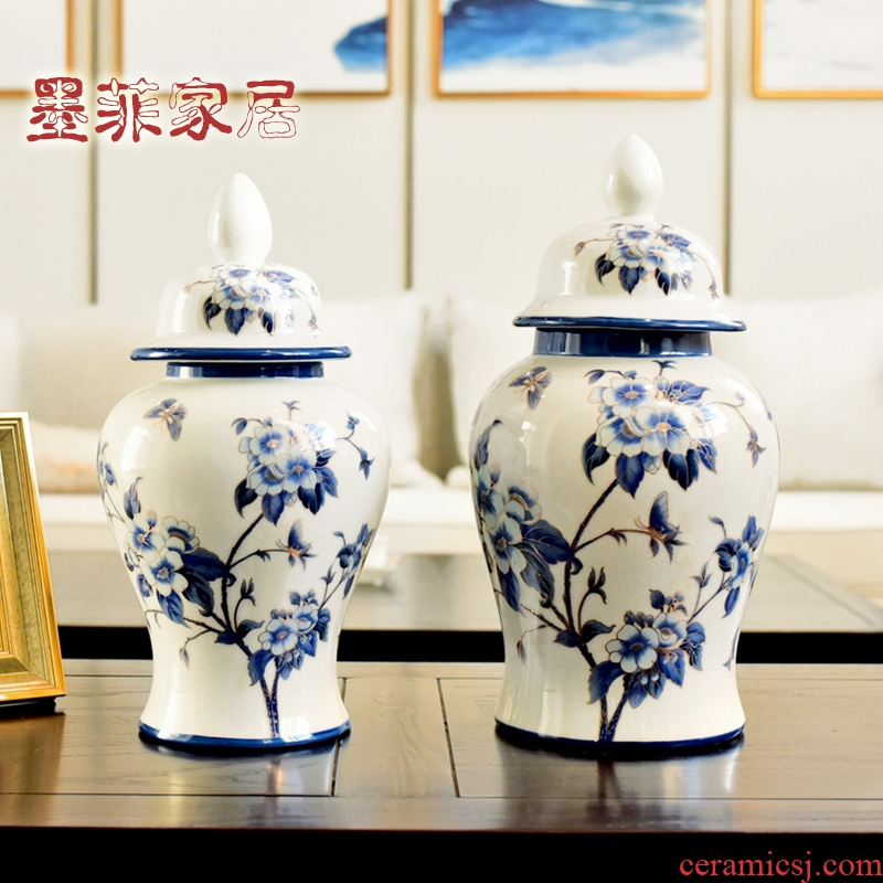 New Chinese style ceramic creative furnishing articles storage tank of blue and white porcelain decoration indoor sitting room porch ark, art ornaments