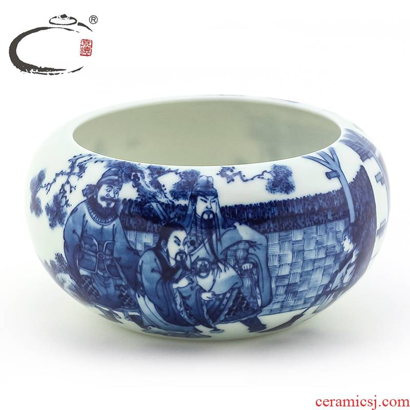 And auspicious wash to jingdezhen blue And white of three small tea hand - made kung fu tea set ceramic tea accessories to use