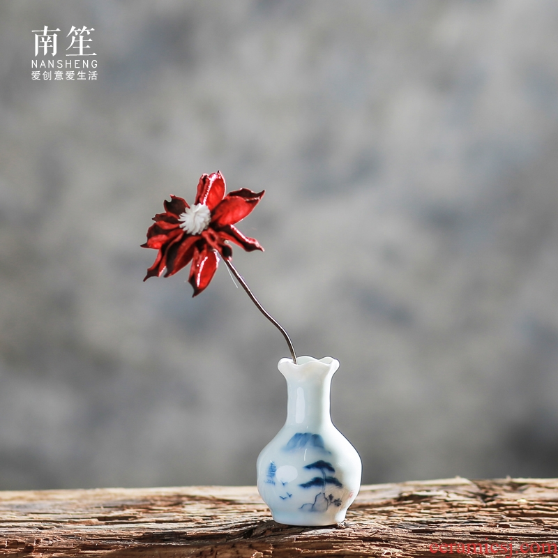 Nan sheng classical Chinese style restoring ancient ways is hand - made ceramic floret bottle of flower, dried flower arranging flowers classical celadon handicraft
