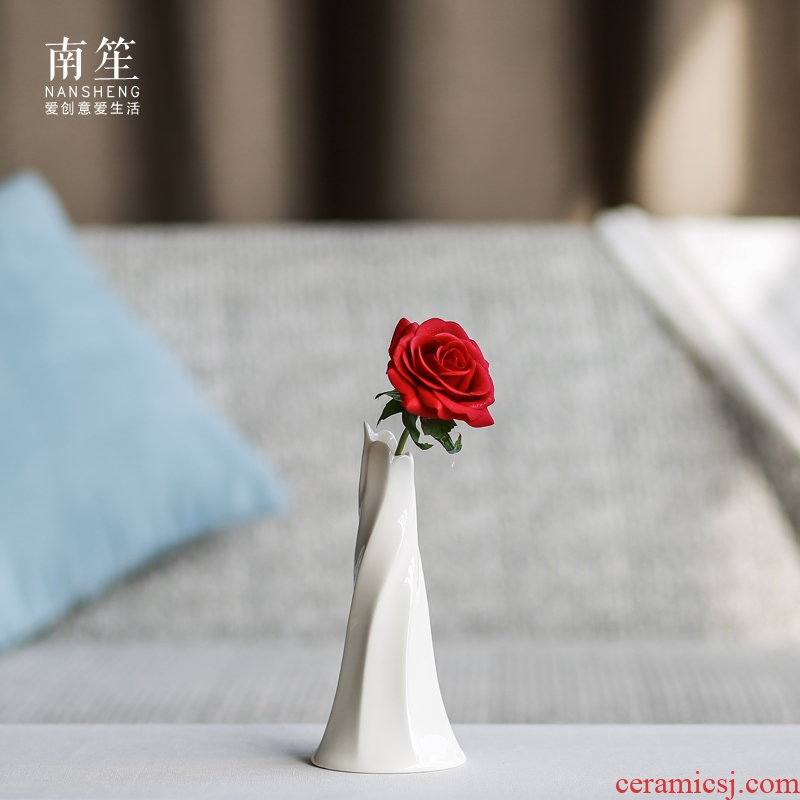 Nan sheng contracted household act the role ofing is tasted home furnishing articles white ceramic vase simulation flowers, dried flower crafts