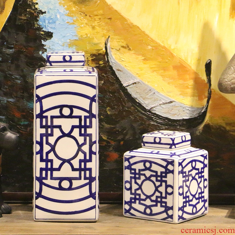 【 】 in the geometry space square canister two - piece modern Chinese ceramic storage tank household adornment furnishing articles