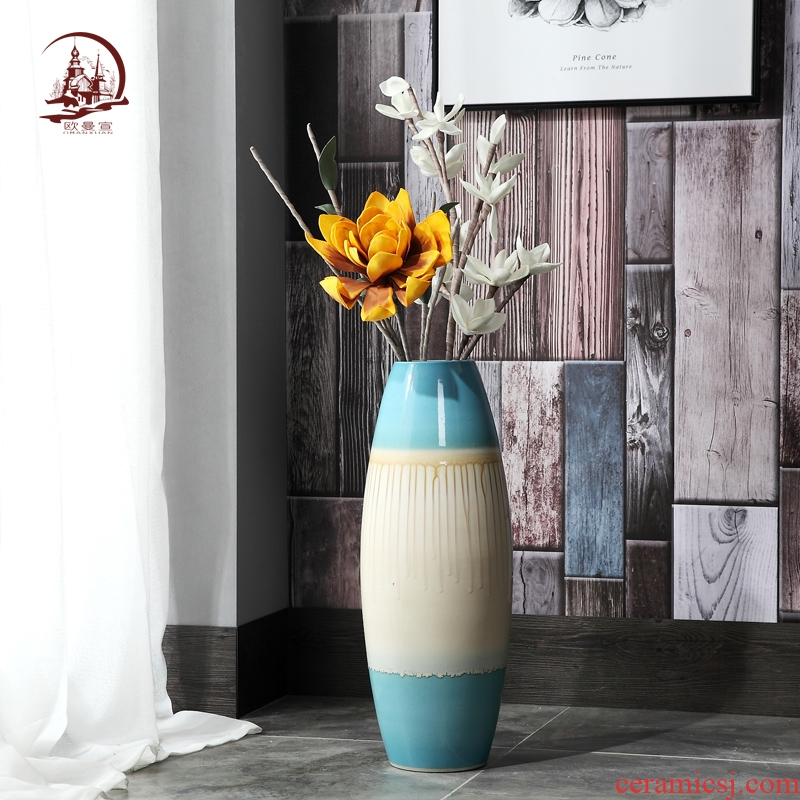 Jingdezhen ceramic vase of large modern European sitting room hotel TV ark, porch decoration flower arranging furnishing articles