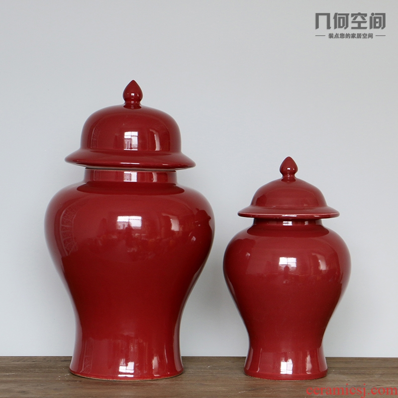 Jingdezhen ceramic vase general Chinese style is contracted fashion wine red as cans porcelain of the sitting room decorate a design furnishing articles