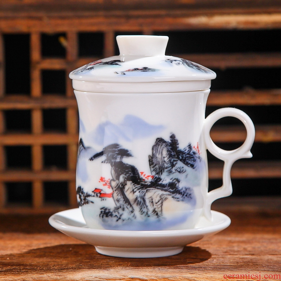 The Fill the jingdezhen ceramic cup four cups with cover filter ceramic cups sample tea cup China cups