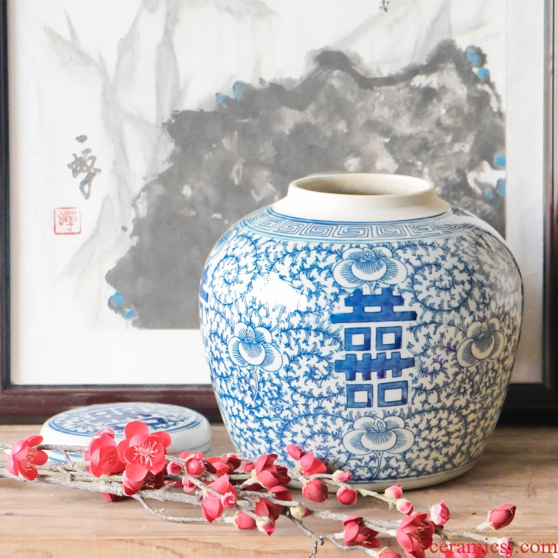 Archaize of jingdezhen ceramic happy character blue treasure ZhuTan new Chinese style classical Ming and the qing dynasties home decoration interior furnishing articles