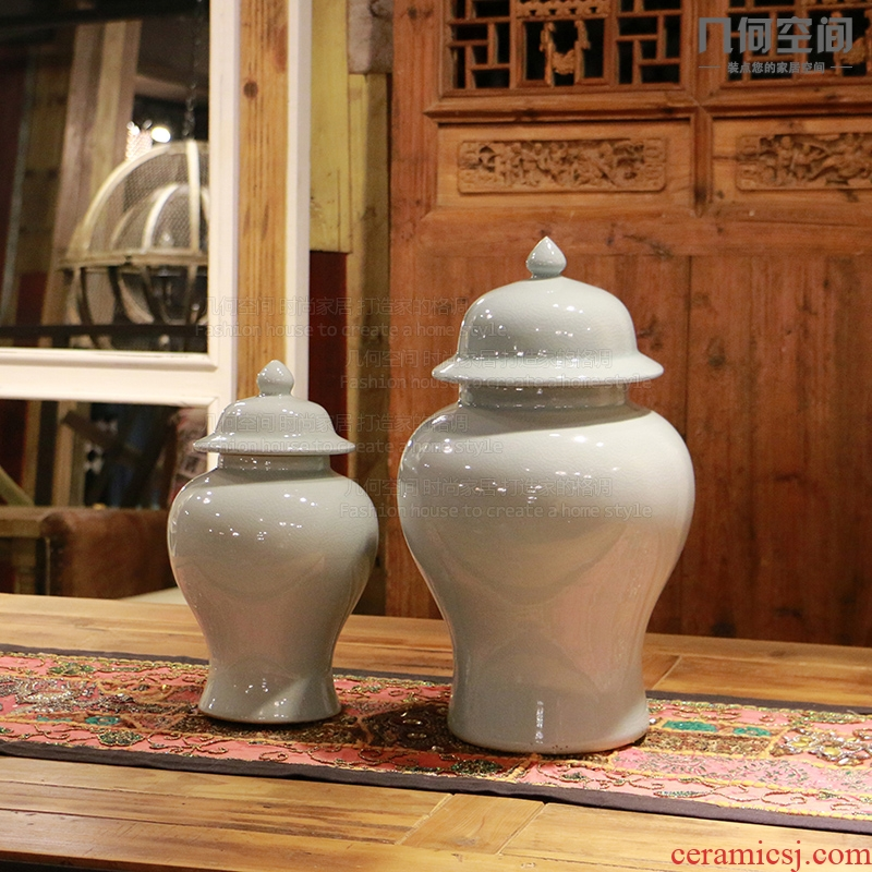 The General geometric space, stimulation of jingdezhen ice crack pot ceramic vases, furnishing articles of Chinese style household soft outfit decoration