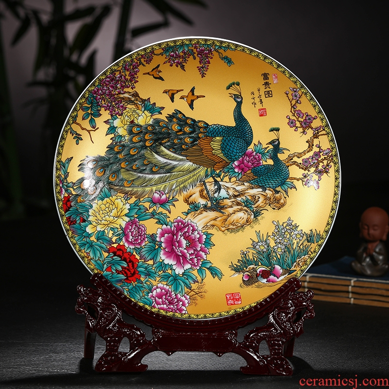 Jingdezhen ceramic plate of pastel hang dish plate plate plate decoration plate furnishing articles decoration plate handicraft decoration