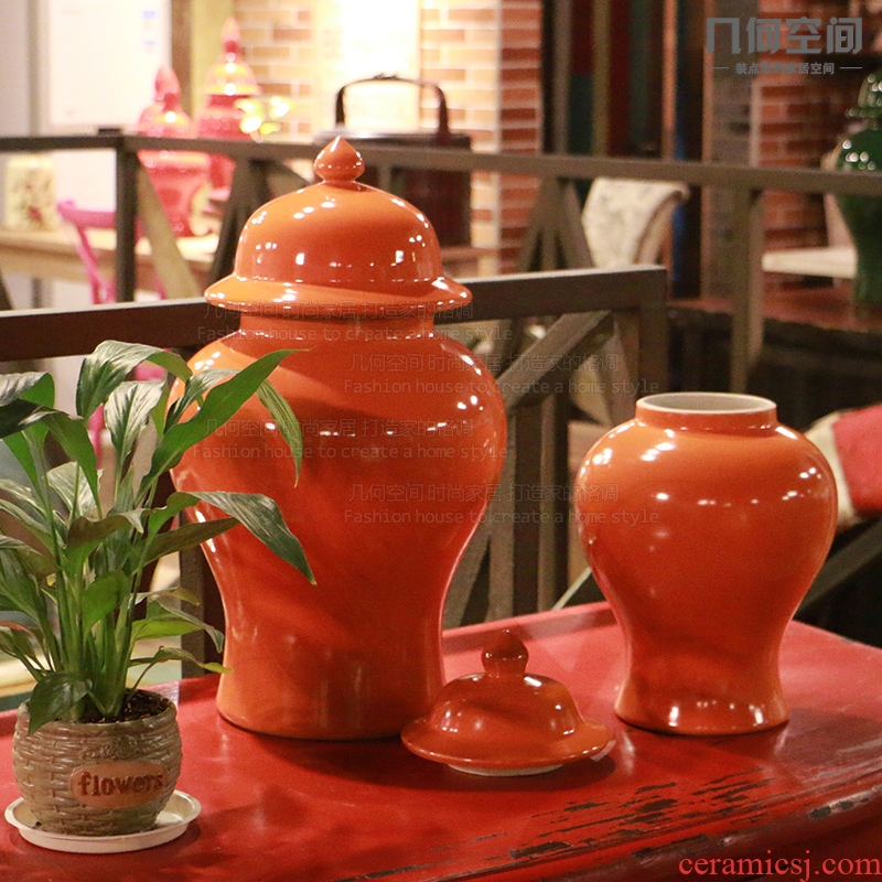 Mesa of jingdezhen ceramics vase is contracted and I and fashionable orange general jar of classical handicraft furnishing articles
