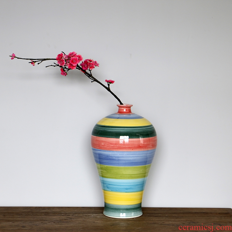 Mesa of jingdezhen ceramics vase rainbow mei bottles of contracted and I household adornment