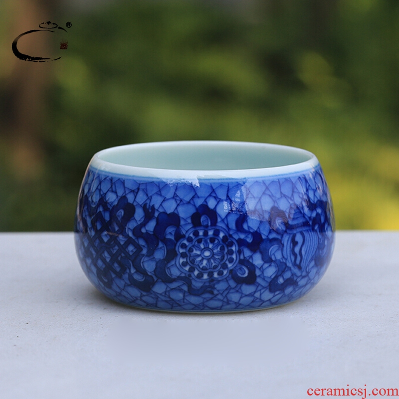 Blue and white sweet and auspicious jingdezhen ceramics by hand DE collection sample tea cup, cup Beijing private cup cup master CPU