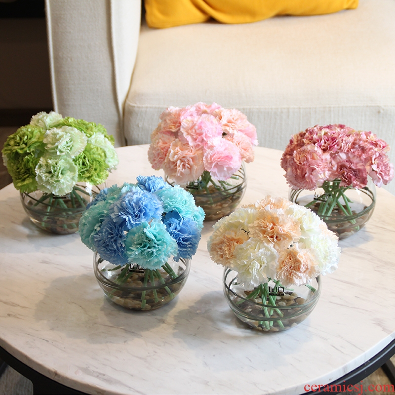 Send fake flower carnation flower the suit + simulation ceramics glass vases, flower arranging silk flowers in living in adornment
