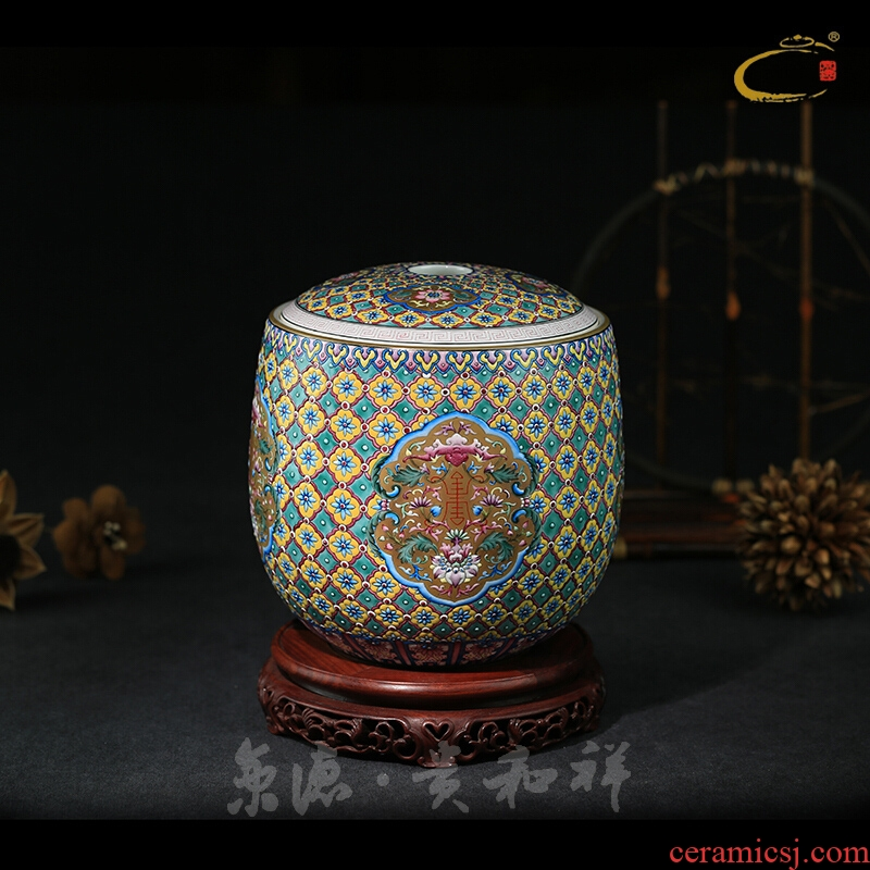 And auspicious color hand - made heap storage large caddy fixings jingdezhen full manual live lotus seed caddy fixings tea packaging