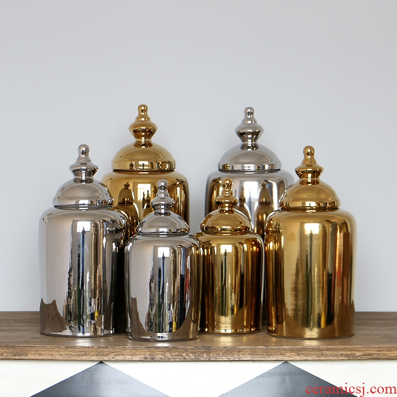 European baroque style living room decoration home furnishing articles of gold silver plating ceramic decoration storage jar
