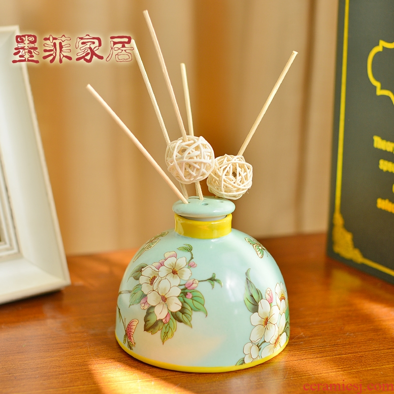 New Chinese style classical no fire ceramic aromatherapy furnishing articles American sitting room bedroom home decoration home fragrance bottle