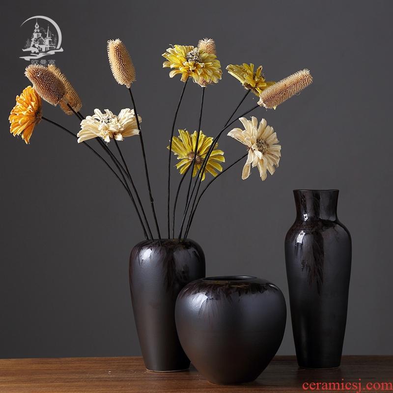 Vintage vase large furnishing articles sitting room TV cabinet table household soft adornment dry flower arranging flowers, ceramic decoration