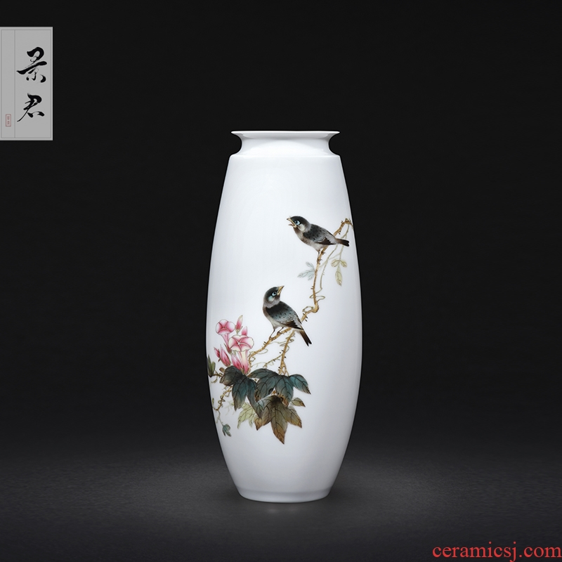 Jingdezhen ceramics hand - made painting of flowers and pastel celadon vase archaize home sitting room art adornment is placed