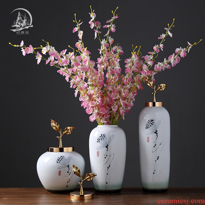 Jingdezhen ceramic vase furnishing articles creative new Chinese style living room TV cabinet household soft adornment flower arrangement