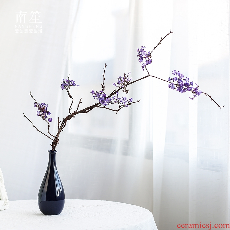 Nan sheng small pure and fresh household act the role ofing is tasted blue ceramic vase simulation furnishing articles table sitting room adornment ornament