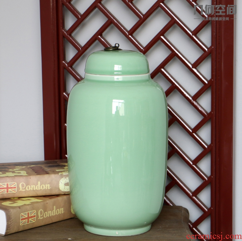 The geometry space contracted and I jingdezhen single glaze idea gourd can home decoration ceramic vessels furnishing articles
