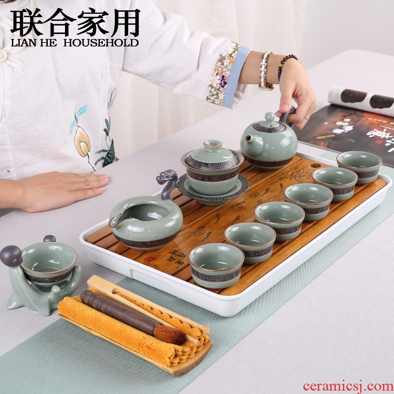 To be household violet arenaceous kung fu tea set ceramic dry tea cups dish suits for Japanese contracted small tea sets tea sea