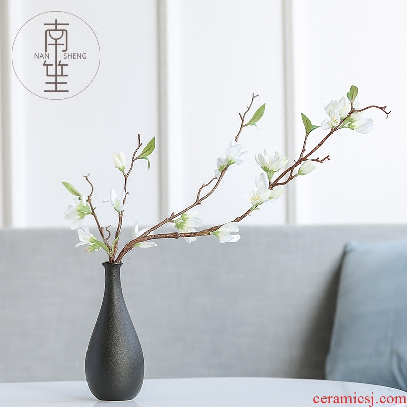 Nan sheng household act the role ofing is tasted, black ceramic vase simulation flower, dried flower flower, furnishing articles ornaments of TV bar face