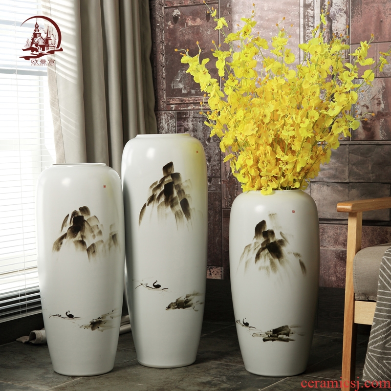 Ceramic sitting room ground large vases, new Chinese style villa hotel show porch flower adornment furnishing articles