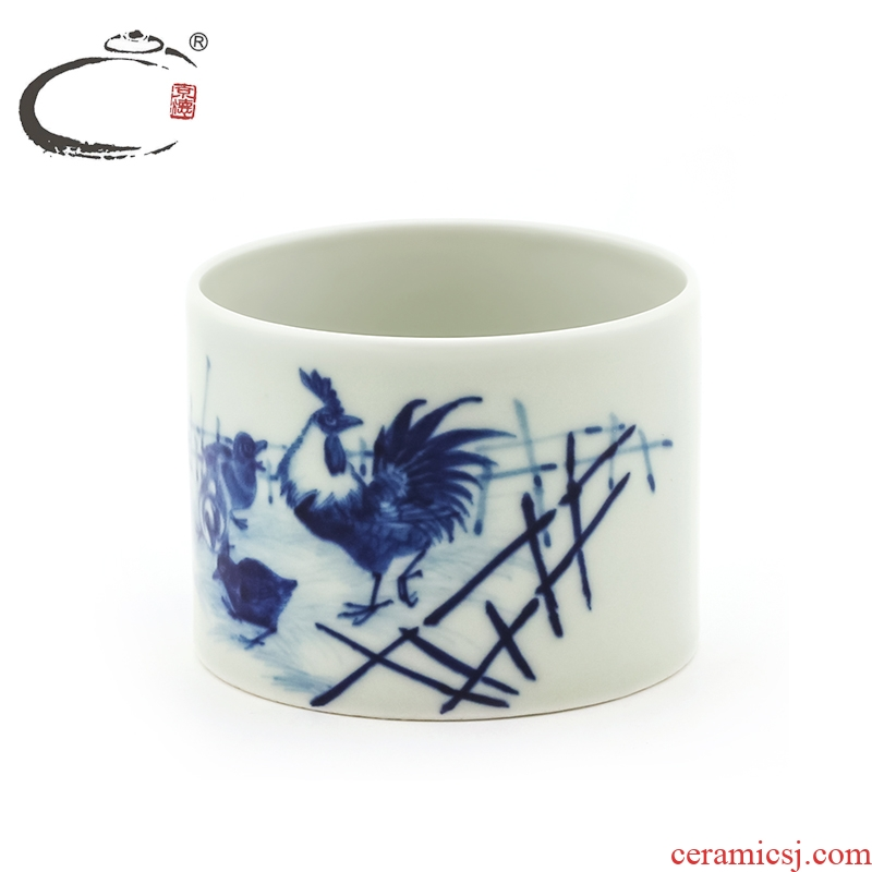 Blue and white five sub - ka cup large manual jingdezhen ceramic cups and auspicious kung fu tea set single cup sample tea cup