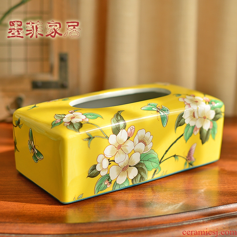 Chinese style restoring ancient ways ceramic paper towel box of American decorative furnishing articles receive sitting room tea table napkin paper household smoke box