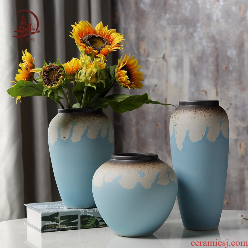 Small dry plug-in simulation artificial flowers fresh ceramic vase household contracted sitting room table vase decoration furnishing articles