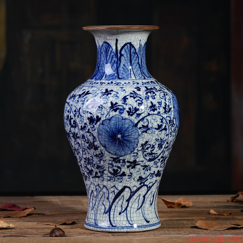 Chinese blue and white porcelain of jingdezhen ceramics up TV ark, decoration vase in the sitting room porch furnishing articles