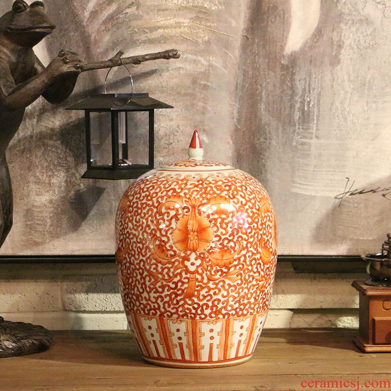 Jingdezhen alum red lotus design of new Chinese style ceramic idea gourd watermelon wine pot, the sitting room porch home decoration furnishing articles