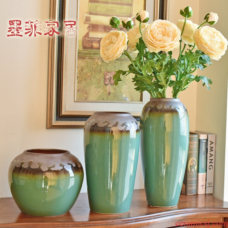 Modern new Chinese style household adornment monochromatic glazed pottery porcelain vases furnishing articles sitting room porch TV ark, flower arranging flowers