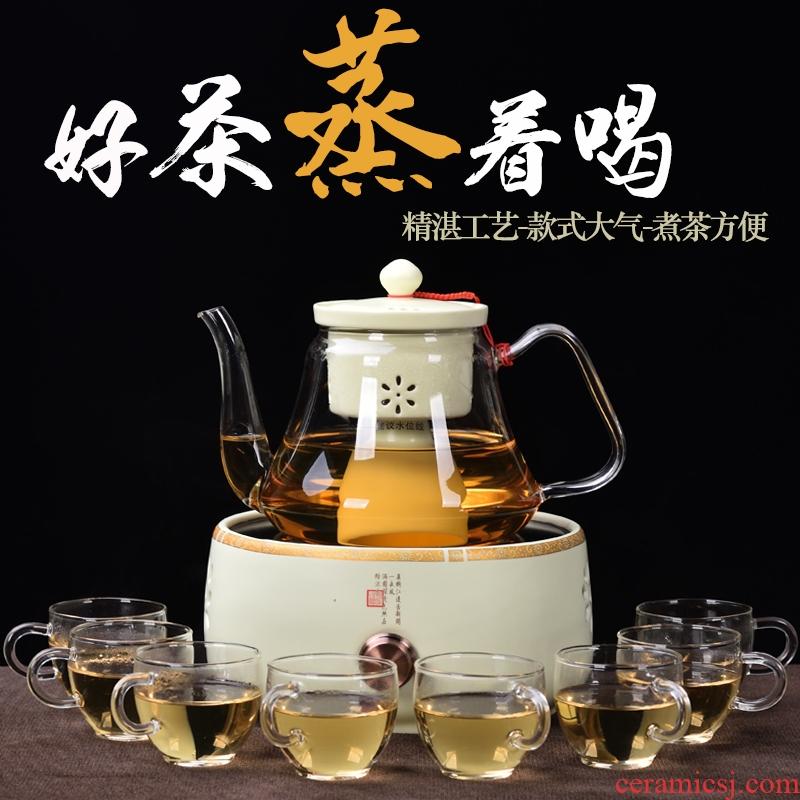 To be household electric TaoLu glass tea steamer to cook tea pot set tea stove ceramic inner pot steam