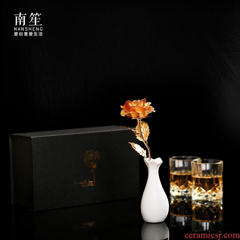 Nan sheng household act the role ofing is tasted furnishing articles simulation flower arranging golden rose ceramic floret bottle set creative mini gift box