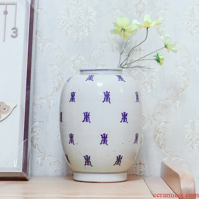 New Chinese style antique stays in the hand - made ceramic vase sitting room tea table spend birthday gift feng shui furnishing articles