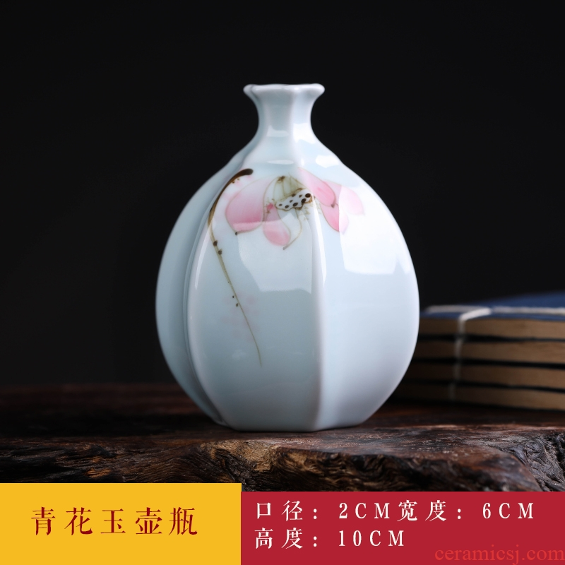 Jingdezhen ceramics mini checking blue glaze floret bottle furnishing articles flowers is spoil, small ornament
