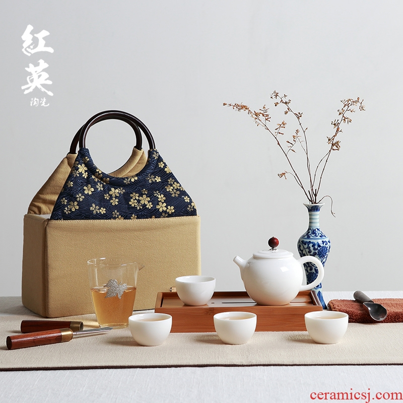 Red the jingdezhen ceramic suet jade white porcelain kung fu tea set contracted portable travel the teapot tea tray cups