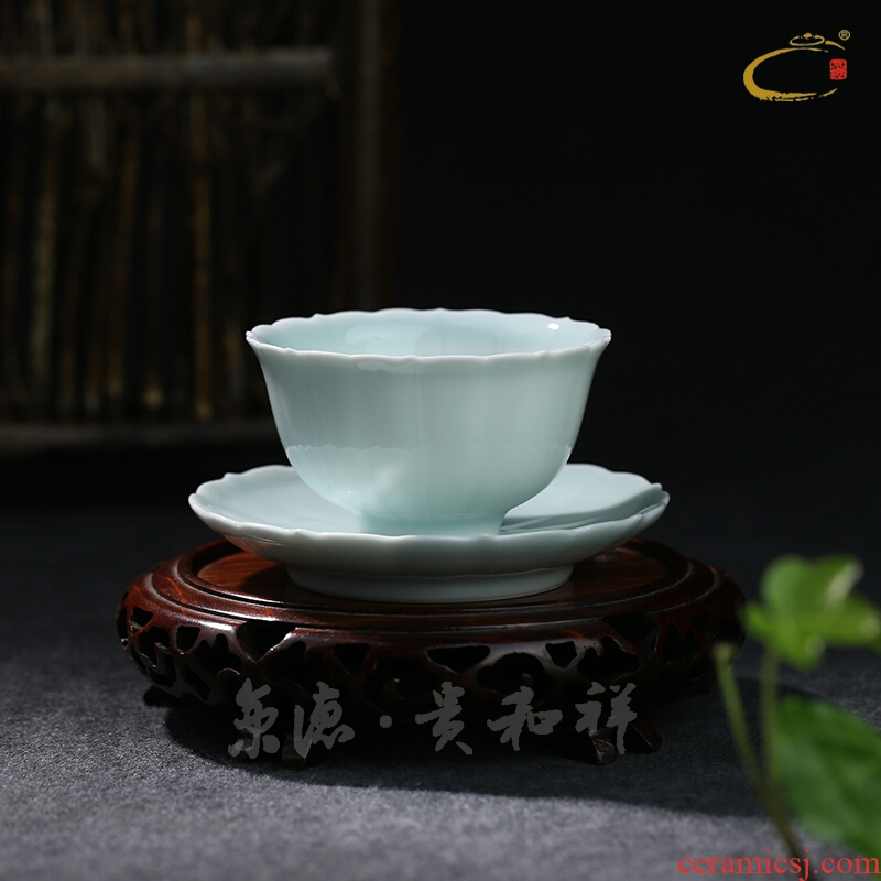 And auspicious set of jingdezhen ceramic hand - made kung fu tea saucer kwai plate cup expressions using imitation ru up market metrix sample tea cup