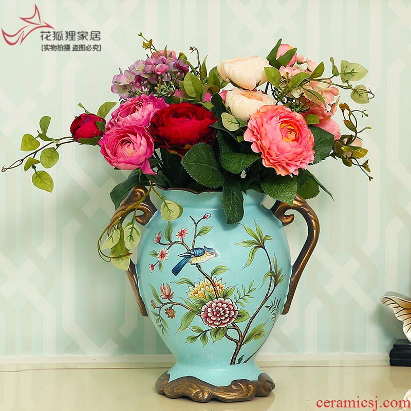 Flower fox European rural ears big ceramic vase floral restoring ancient ways suit American creative sitting room place flowers