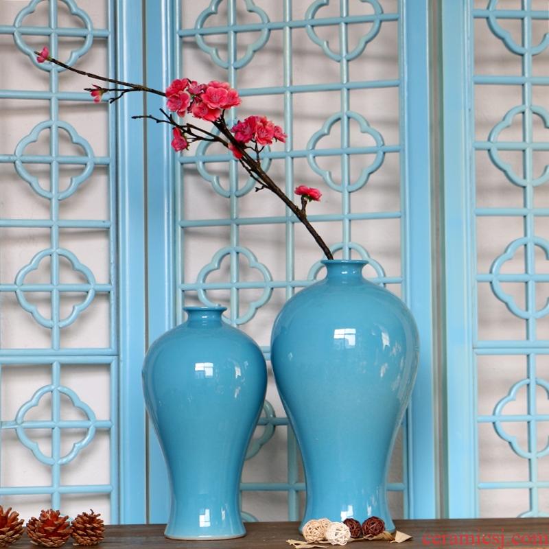 Jingdezhen glaze color solid - colored name plum bottle ceramic vases, flower, flower implement fashionable household decoration craft ornaments