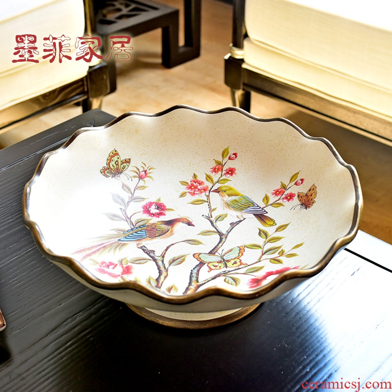 American light and decoration ceramics retro large household adornment furnishing articles of dried fruit compote European sitting room tea table for plate of fruit bowl