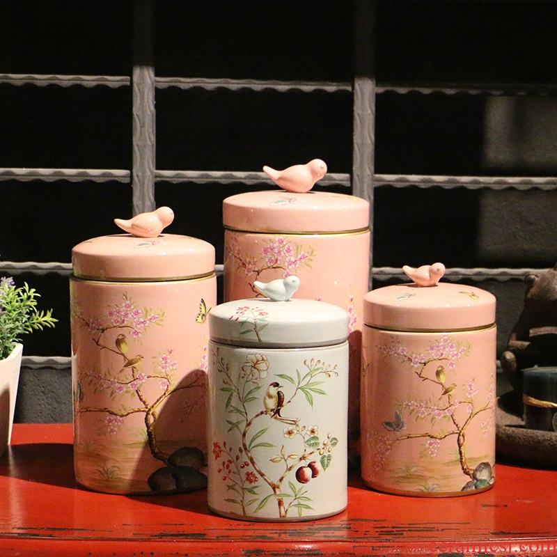 New Chinese style of flowers and birds painting ceramic fresh storage tank of rural household adornment desktop creative European furnishing articles